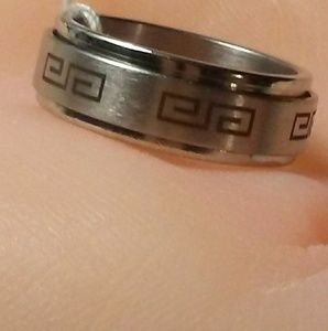 Other - MEN'S STAINLESS  GREEK KEY SPINNER RING, SIZE 11